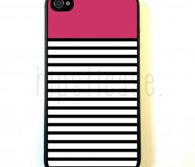 Bright Pink Black And White Stripes iPhone 5 Case - For iPhone 5/5G - Designer TPU Case Verizon AT&T Sprint