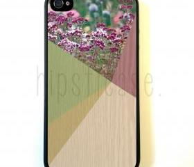 Floral Geometric On Wood iPhone 5 Case - For iPhone 5/5G - Designer TPU Case Verizon AT&T Sprint