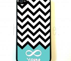 Forever Young Chevron Teal iPhone 5 Case - For iPhone 5/5G - Designer TPU Case Verizon AT&T Sprint