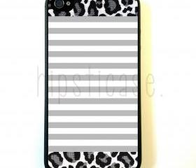 Grey Stripes Leopard iPhone 5 Case - For iPhone 5/5G - Designer TPU Case Verizon AT&T Sprint